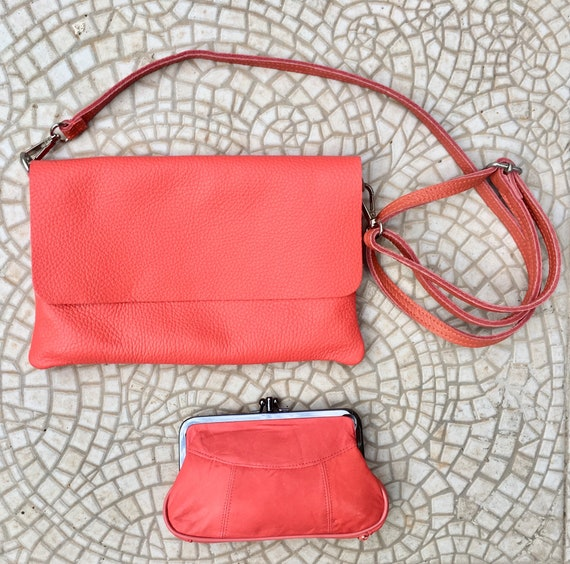 Cross body bag in CORAL RED. Genuine leather  bag and  kiss lock purse. Soft leather red bag with adjustable strap,  zipper and flap.