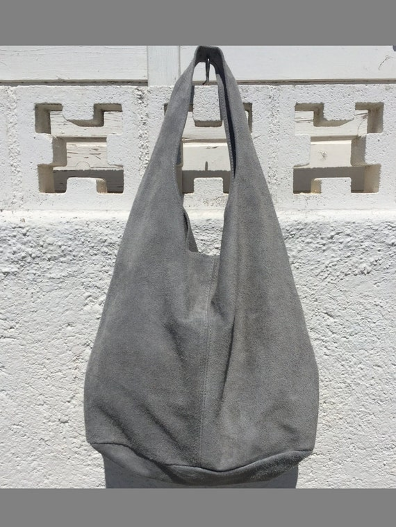 Slouch bag.Large TOTE leather bag in GRAY. Soft natural suede genuine leather hobo bag. Bohemian bag. Grey suede bag.