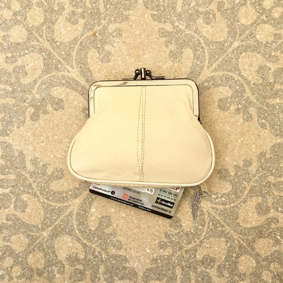 Genuine leather small clip purse in creamy white. Retro purse for coins,bills and separate zipper for credit cards,Soft white leather wallet