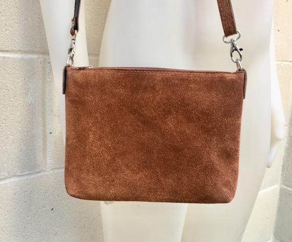 Suede leather bag in dark CAMEL brown. Cross body bag, shoulder bag in GENUINE  leather. Small leather bag in  dark tobacco brown