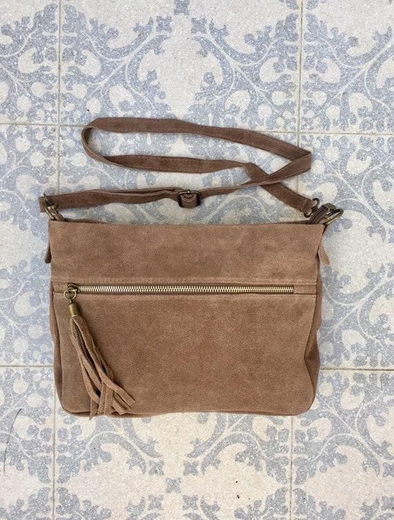 BOHO suede leather bag in DARK beige.Soft natural leather bag with tassels, cross over bag with adjustable straps. Boho, summer festival bag