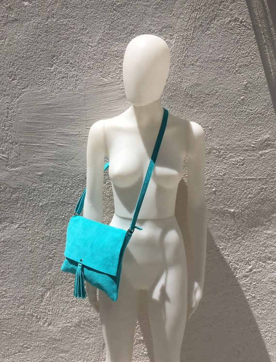 Cross body bag. BOHO suede leather bag in TURQUOISE. Soft genuine suede leather. Cross body, messenger bag in grey suede. Small suede bags