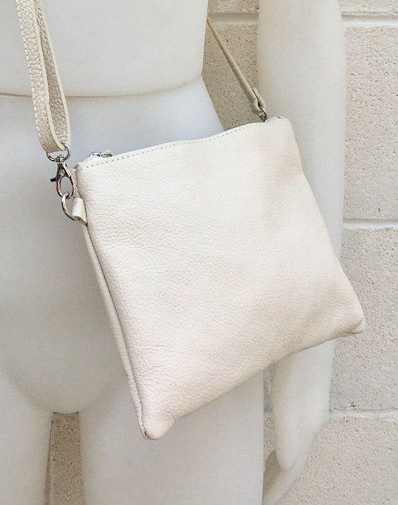 Small leather bag in CREAM WHITE .Cross body bag, shoulder bag or wristlet in GENUINE  leather. Adjustable strap