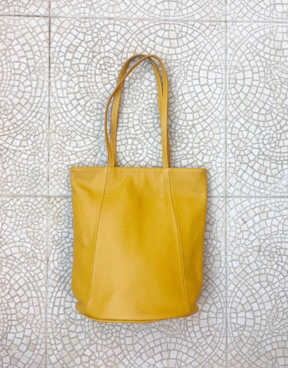 NEW with zipper and lining. Tote leather bag in mustard YELLOW. Soft GENUINE  leather bag. Large yellow leather. Laptop  bag. Mustard tote
