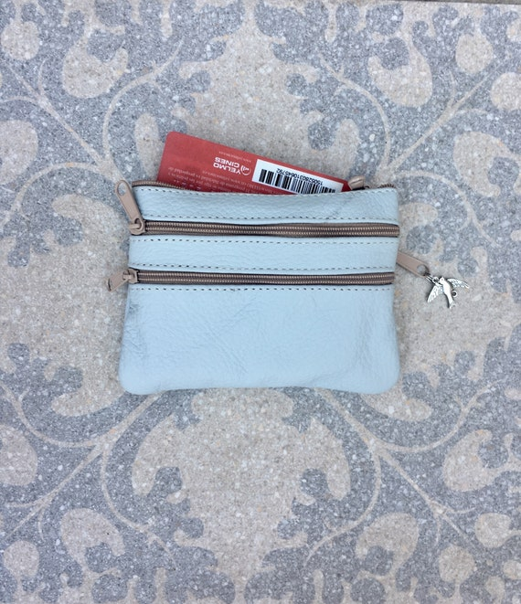 Small purse in LIGHT blue - gray, genuine leather, 4 zippers. Fits credit cards, coins, bills. Pastel BLUE leather wallet.