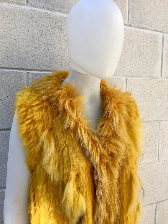 Rabbit fur vest, knitted fur waistcoat,colorful boho vest,  soft fur vest. Genuine fur vest in mustard yellow
