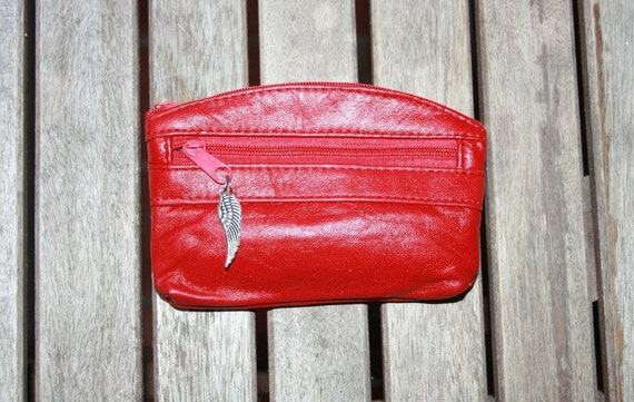Small purse in RED, genuine leather, closed by 3 zippers. Fits credit cards, coins, bills. RED leather wallet.