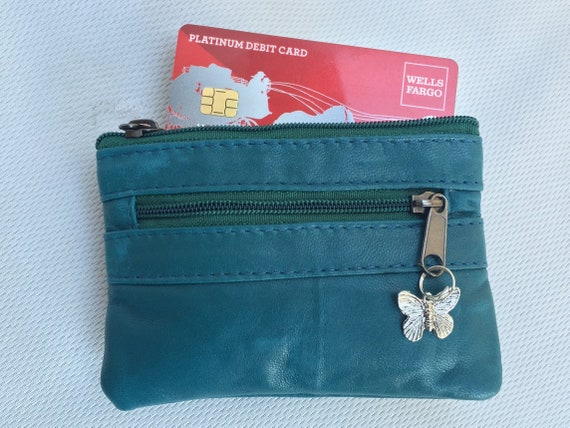 Teal blue coin purse in genuine leather with metallic butterfly charm. Zipper small purse for coins, bills and cards. Soft leather wallet.