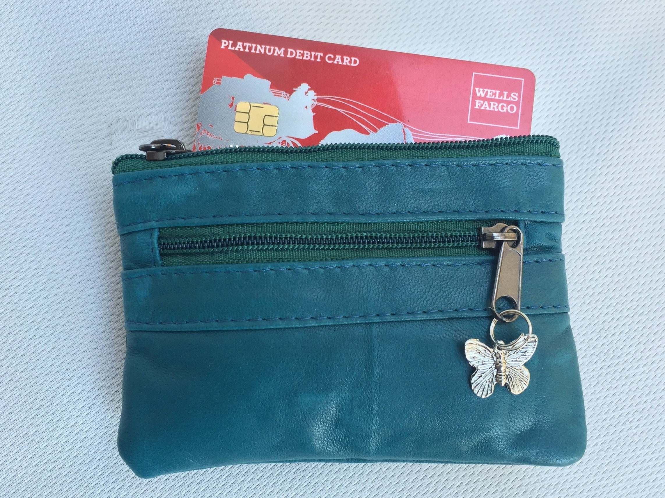 3b8b8ecac Teal blue coin purse in genuine leather with metallic butterfly charm ...