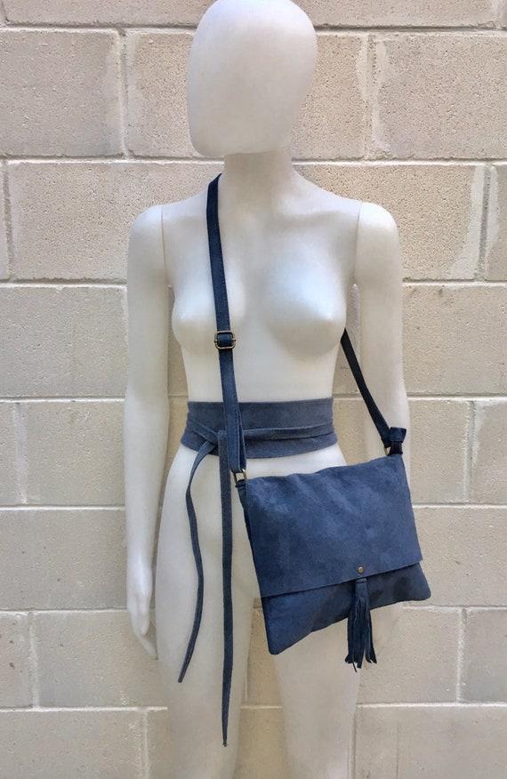 BOHO suede leather bag and obi  belt in DENIM blue. Soft natural leather bag. Genuine suede set of bag and belt. Blue suede bag with belt