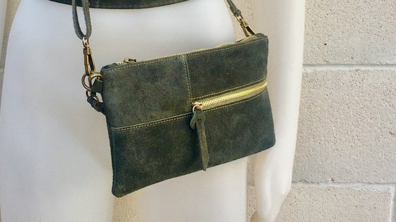 Suede leather bag in DARK GREEN .Cross body bag, shoulder bag in GENUINE  leather. Small leather bag with adjustable strap and zipper.