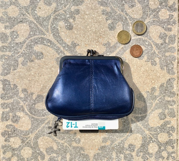 Genuine leather purse in dark metallic blue. Small kiss lock purse. Retro style wallet. Grandma purse with separate zipper for cards.