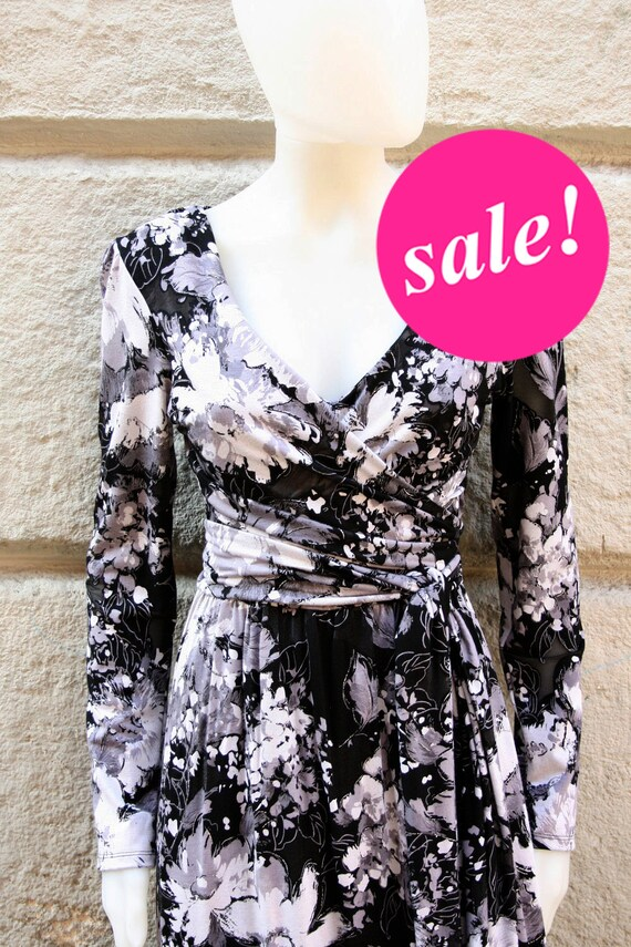 SALE - The perfect faux WRAPAROUND party dress in a black and grey demi sheer (but LINED) 40s retro print