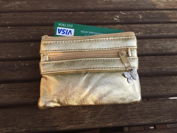 Small coin and card purse with zipers in GOLD color. Genuine leather. Gold leather small   bag. Accent leather purse.
