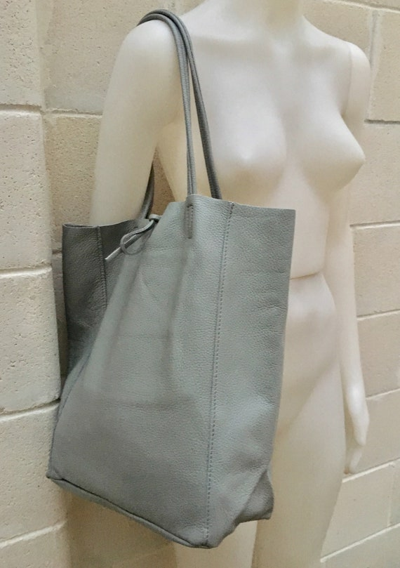 Tote bag in GRAY. Large leather bag. Soft natural GENUINE  leather bag. Large GREY  bag. Laptop bag, office bag. Gray school leather bag.