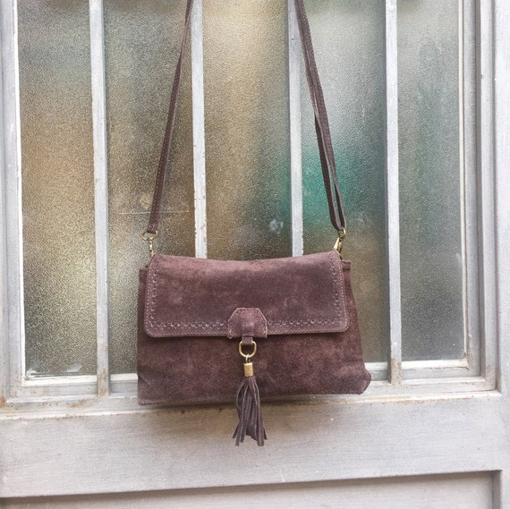 Brown suede leather bag Cross body bag. BROWN messenger bag , boho festival bag