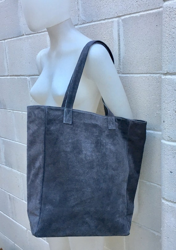 Large tote eather bag in DARK GRAY. Soft natural suede genuine leather bag. Boho bag.  GRAY suede bag. Laptop bag in dark gray suede.