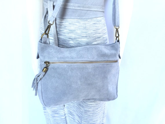 BOHO  suede cross over leather bag in GREY. Soft natural leather bag with tassels. Genuine leather bag, festival Ibiza bags.