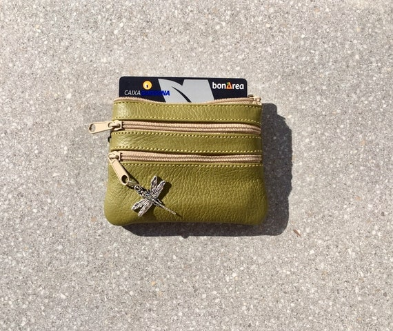 Small purse in MOSS green . Genuine leather, 3 zippers. Fits credit cards, coins, bills. Light GREEN  color leather wallet.
