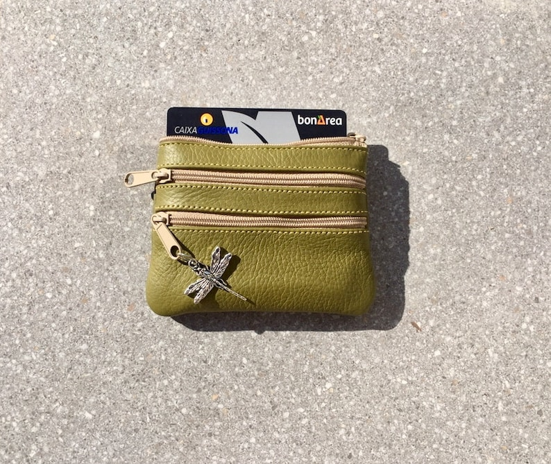 Light GREEN  color leather wallet. Genuine leather Small purse in MOSS green coins bills Fits credit cards 3 zippers
