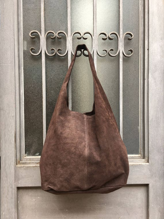 Large TOTE leather bag in  BROWN. Genuine leather bag. Slouch bag. Laptop bags in suede. Large suede leather bag. Chocolate BROWN suede bag.