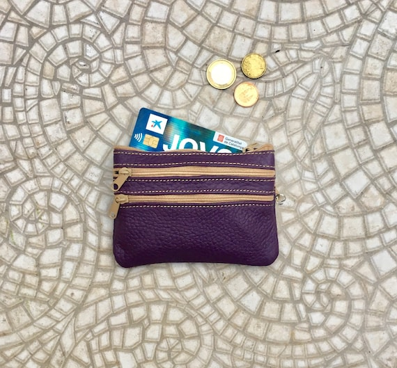 Small coin purse in dark PURPLE . Genuine leather, 3 zippers. Fits credit cards, coins, bills. Purple color compact small leather wallet.