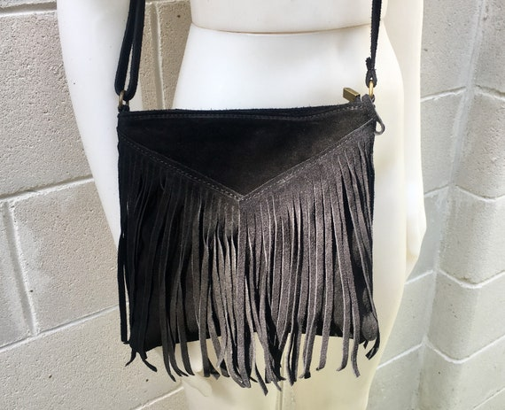 Cross body bag. BOHO suede leather bag in BLACK with FRINGES. Messenger bag in soft  genuine suede leather.Black crossbody hippy bag