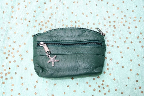 Small purse in DARK GREEN, genuine leather, 3 zippers. Fits credit cards, coins, bills. GREEN  Leather wallet