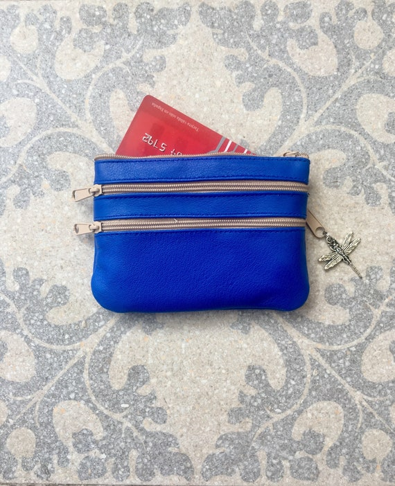Small purse in cobalt  BLUE, genuine leather, 4 zippers. Fits credit cards, coins, bills. BLUE leather wallet.