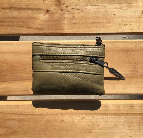 Small purse in KHAKI, genuine leather, closed by 3 zippers. Fits creditcards, coins, bills. KHAKI GREEN leather wallet.