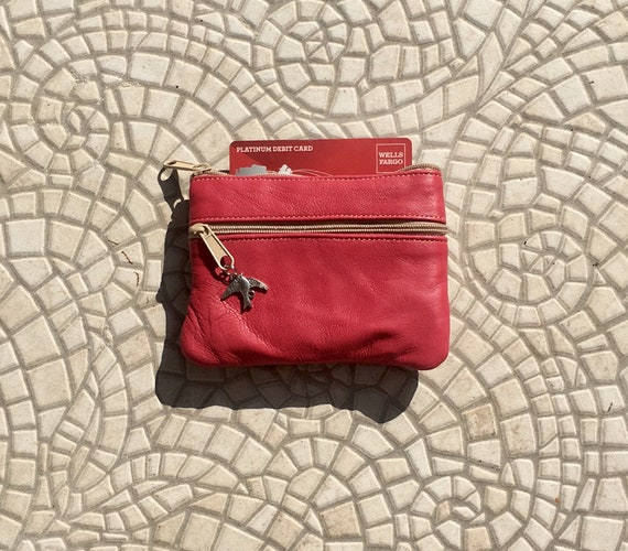 Small purse in MAGENTA . Genuine leather, 3 zippers. Fits credit cards, coins, bills. DARK PINK color leather wallet.