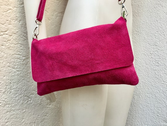 Small suede  bag in shocking PINK. Soft genuine leather , Cross body bag with zipper, flap and adjustable strap. Boho, festival bags.