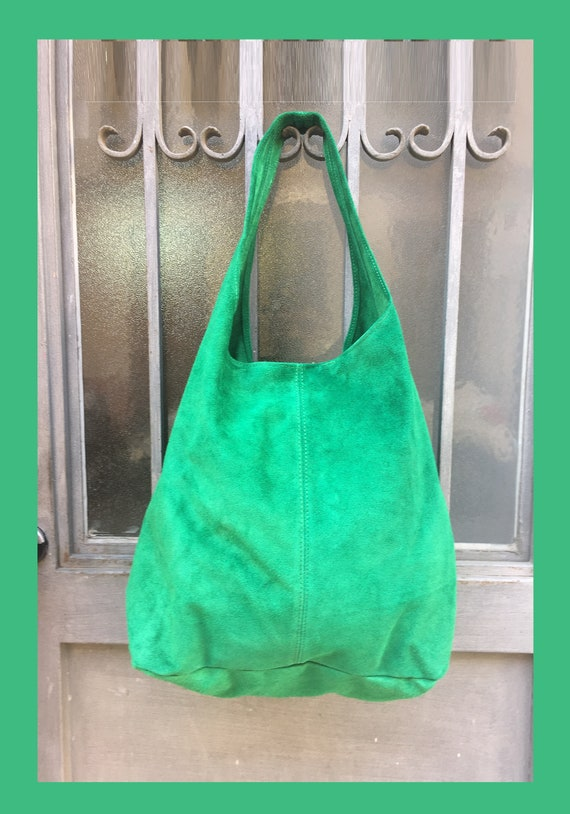 Large TOTE leather bag in GREEN . Genuine leather SLOUCH bag. Boho bag. Laptop bags in suede. Large suede leather bag. Green suede bag.