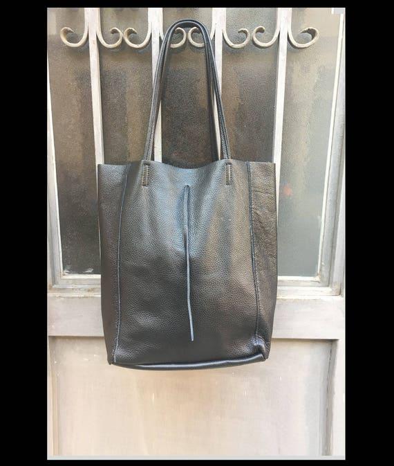 TOTE leather bag in BLACK. Soft natural GENUINE  leather bag. Large black leather bag. Laptop bag, Ipad bag, tablet bag.