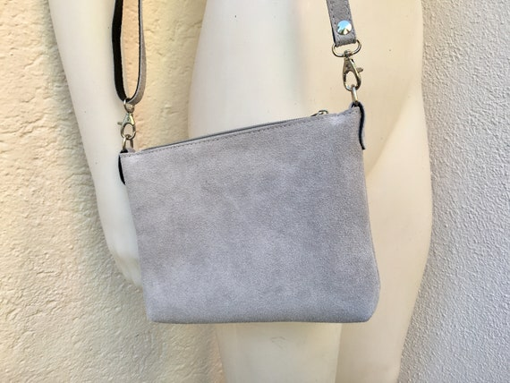 Suede leather bag in  LIGHT GRAY. Cross body bag, shoulder bag in GENUINE  leather. Small leather bag with adjustable strap and zipper.