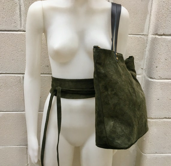 Large TOTE leather bag in dark green with matching suede belt. Soft natural suede genuine leather bag and belt set.  Large crossbody bag