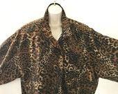80s Animal Print Blouson Jacket Batwing Sleeves, Shoulder Pads Button Front Bomber Jacket Animal Print Polyester Lined Shell Jacket