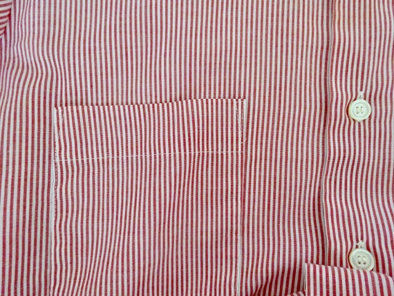 ARROW SS Red Stripe Sport Shirt Size 16 Large Candy Stripe Red and White Long collar Prep Ivy League FREE SHIPPING