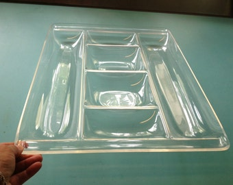 Lucite Large Tray  / Hors d'oeuvres Tray / 70s Plexiglas Divided Tray / Acrylic Serving Tray