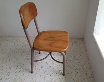 Heywood Wakefield Childs Chair / 60s Excellent Condition / Wood And Metal  School Chair