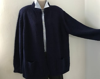 Navy Blue Long Sweater/ Nubby Knit Open Front Sweater/ SIZE: XL or 1X/ Bonnie Lee Brand/ Cardigan Sweater