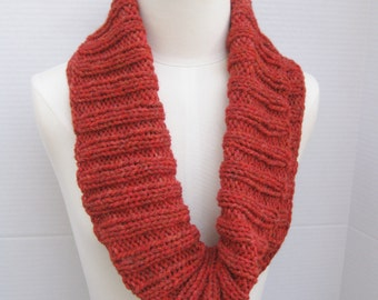 Cowl alpaca Infinity scarf neck warmer pure alpaca red hand knitted ribbed