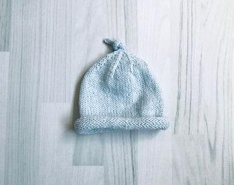 Baby hat light blue wool beanie handknit size 3-6 months
