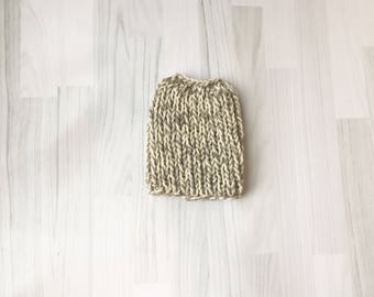 Hat wool messy bun hat pony tail beanie pure wool grey tweed and white hand knit