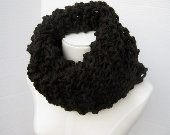 Cowl scarf brown black bulky wool Outlander inspired Claire's scarf neck warmer hand knitted