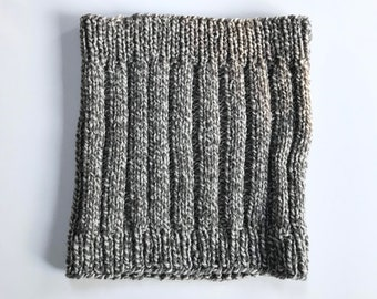 Cowl neck warmer rustic scarf grey gray taupe ivory natural wool Outlander inspired scarf hand knitted unisex