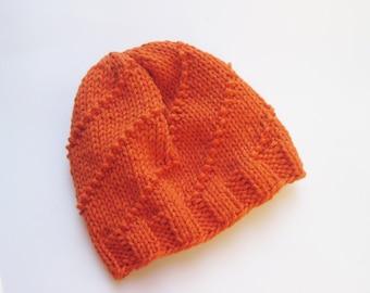Baby hat Cotton beanie orange hand knitted size 3-6 months