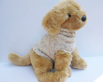 Dog pullover sweater hand knitted oatmeal tweed wool
