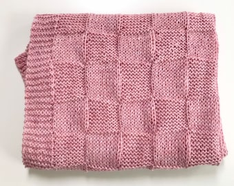 Pink baby blanket wool hand knitted, rose blossom heather pink, baby wrap