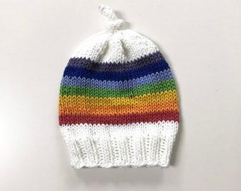 Baby hat cotton beanie rainbow and white hand knitted size newborn - 3 months